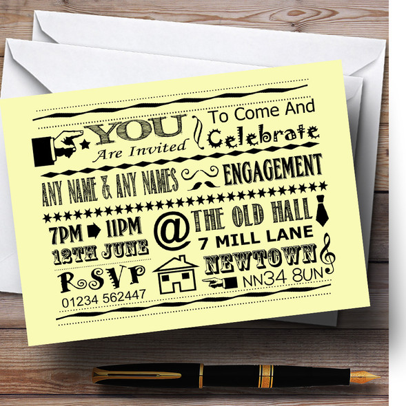Cool Vintage Fun Chalk Typography Pale Yellow Personalised Engagement Party Invitations