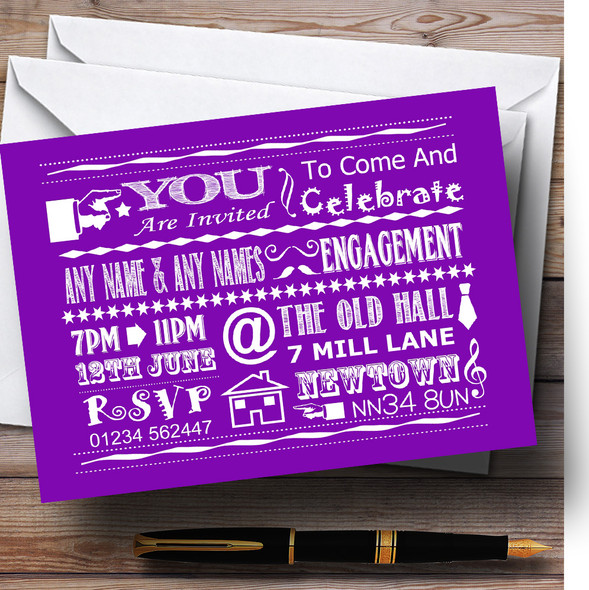 Cool Vintage Fun Chalk Typography Purple Personalised Engagement Party Invitations