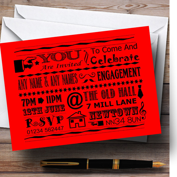 Cool Vintage Fun Chalk Typography Red Personalised Engagement Party Invitations