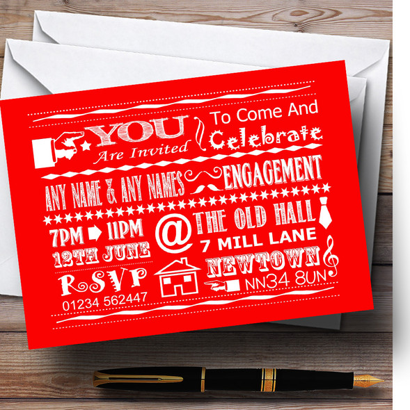 Cool Vintage Fun Chalk Typography Red White Personalised Engagement Party Invitations
