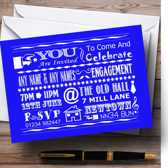 Cool Vintage Fun Chalk Typography Royal Blue Personalised Engagement Party Invitations