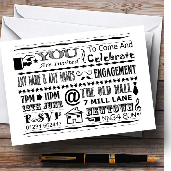 Cool Vintage Fun Chalk Typography White And Black Personalised Engagement Party Invitations