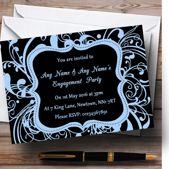 Black & Blue Swirl Deco Personalised Engagement Party Invitations