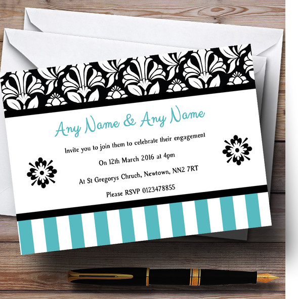 Damask And Aqua Stripes Personalised Engagement Party Invitations
