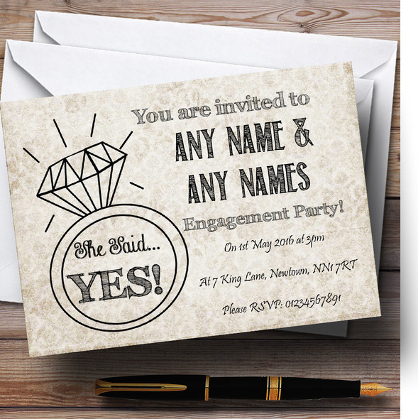 Damask Chic Personalised Engagement Party Invitations