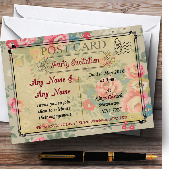 Floral Vintage Paris Shabby Chic Postcard Personalised Engagement Party Invitations