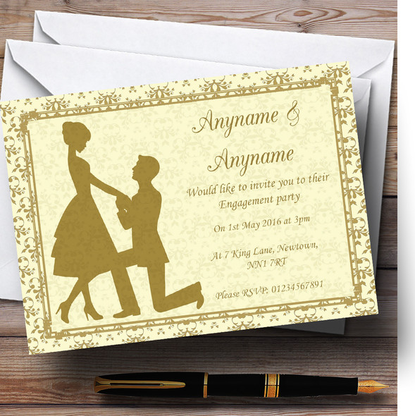 Gold Yellow Classic Personalised Engagement Party Invitations