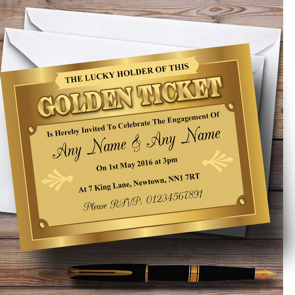 Golden Ticket Personalised Engagement Party Invitations