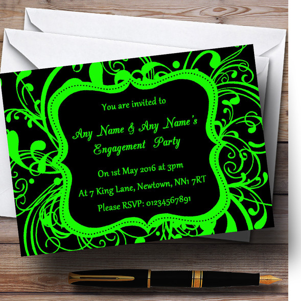Black & Green Swirl Deco Personalised Engagement Party Invitations