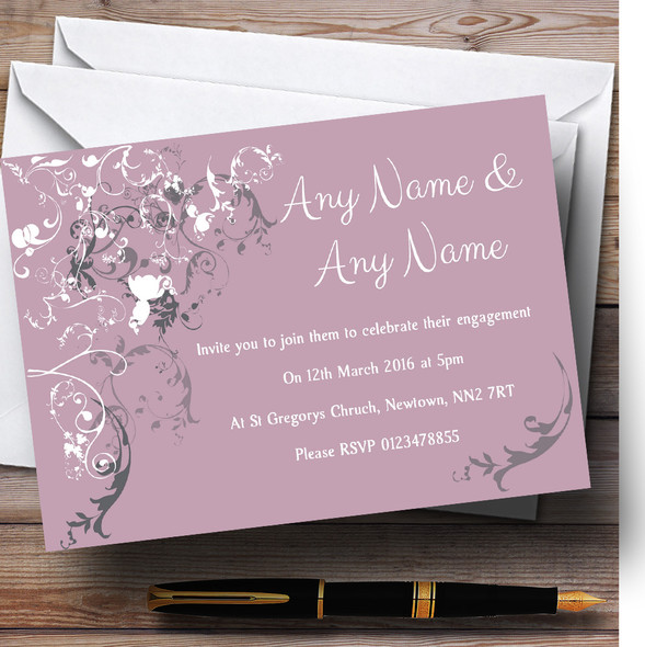 Lilac Vintage Shabby Chic Pattern Personalised Engagement Party Invitations