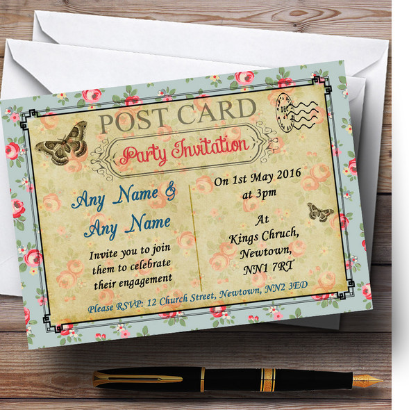 Pink Blue Floral Vintage Paris Shabby Chic Postcard Personalised Engagement Party Invitations