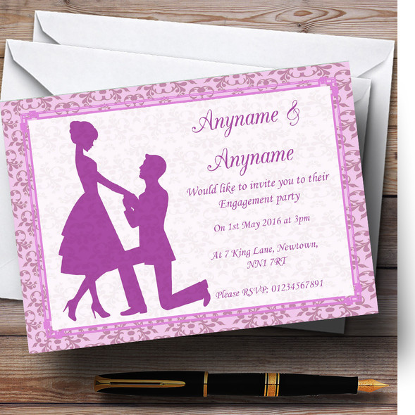 Pink Classic Vintage Personalised Engagement Party Invitations