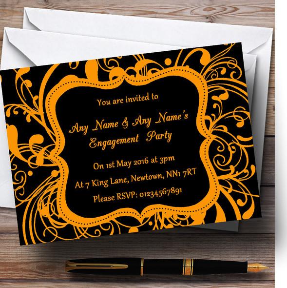 Black & Orange Swirl Deco Personalised Engagement Party Invitations