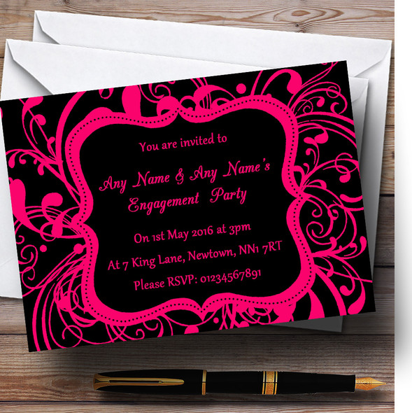 Black & Pink Swirl Deco Personalised Engagement Party Invitations