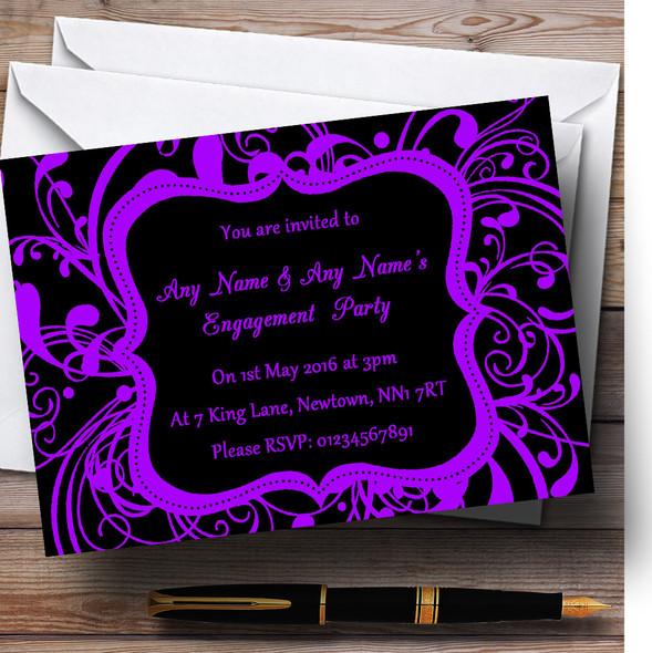 Black & Purple Swirl Deco Personalised Engagement Party Invitations