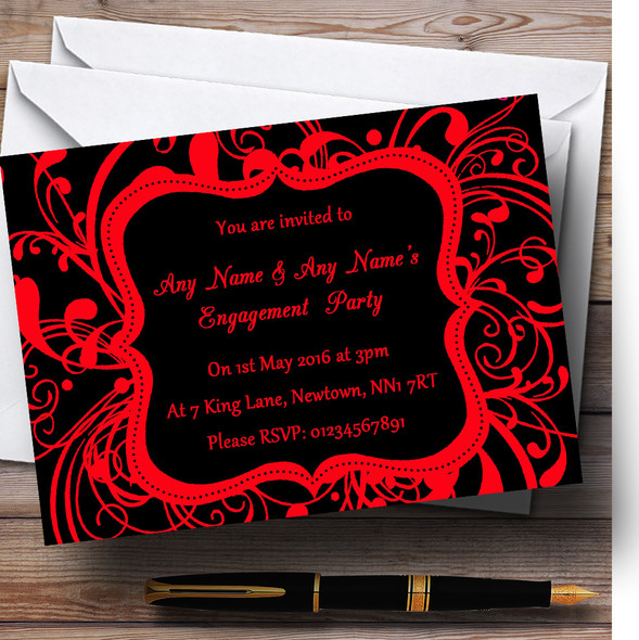 Black & Red Swirl Deco Personalised Engagement Party Invitations