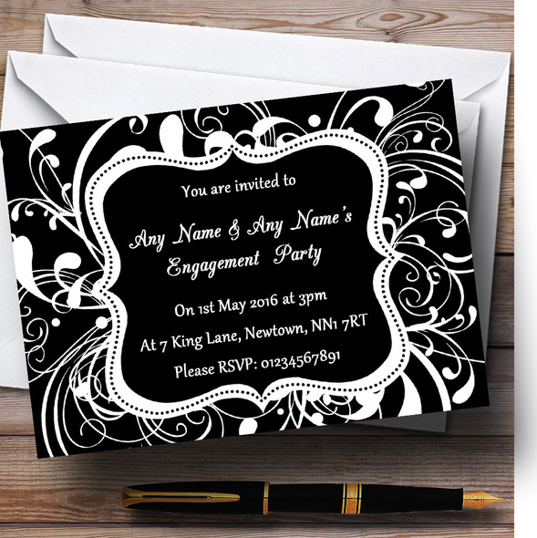 Black & White Swirl Deco Personalised Engagement Party Invitations