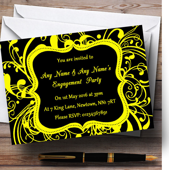 Black & Yellow Swirl Deco Personalised Engagement Party Invitations