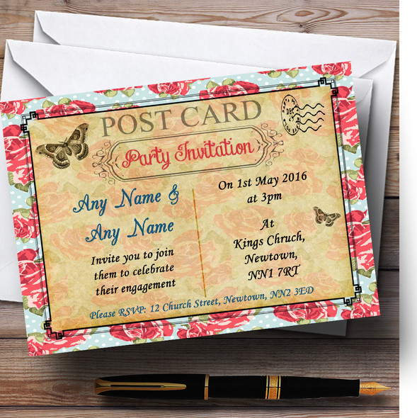 Pink Floral Vintage Paris Shabby Chic Postcard Personalised Engagement Party Invitations