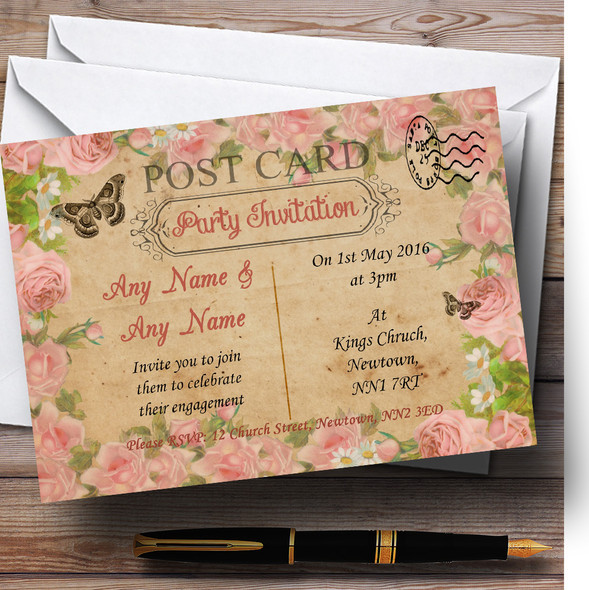 Pink Roses Vintage Shabby Chic Postcard Personalised Engagement Party Invitations