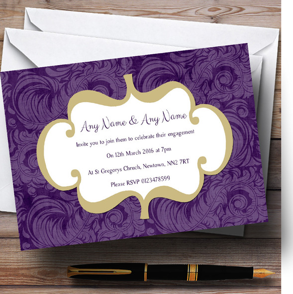 Purples Vintage Classical Personalised Engagement Party Invitations