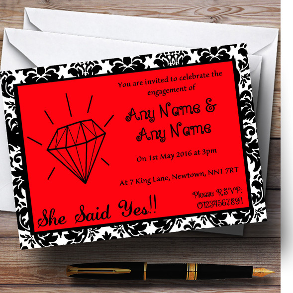 Red Diamond Damask Personalised Engagement Party Invitations