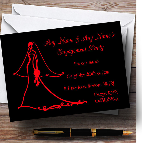 Red Elegant Personalised Engagement Party Invitations