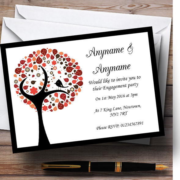 Shabby Chic Bird Tree Brown Vintage Black Personalised Engagement Party Invitations