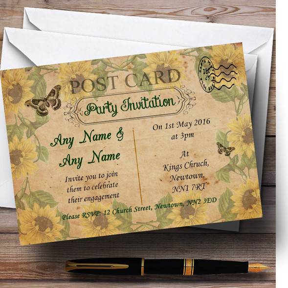 Sunflowers Vintage Shabby Chic Postcard Personalised Engagement Party Invitations