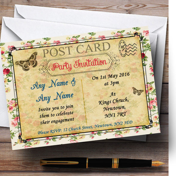 Vintage Floral Paris Shabby Chic Postcard Personalised Engagement Party Invitations