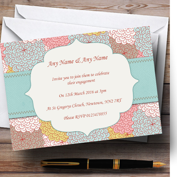 Vintage Flowers Deco Personalised Engagement Party Invitations