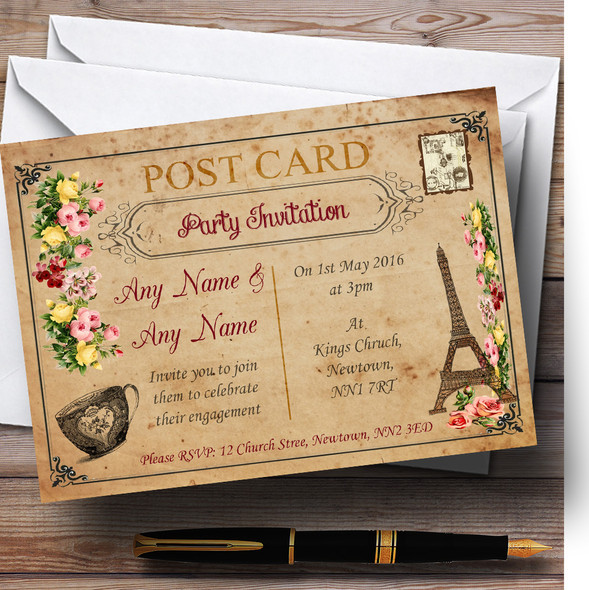Vintage Paris Shabby Chic Postcard Personalised Engagement Party Invitations