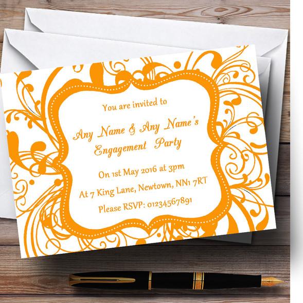 White & Orange Swirl Deco Personalised Engagement Party Invitations