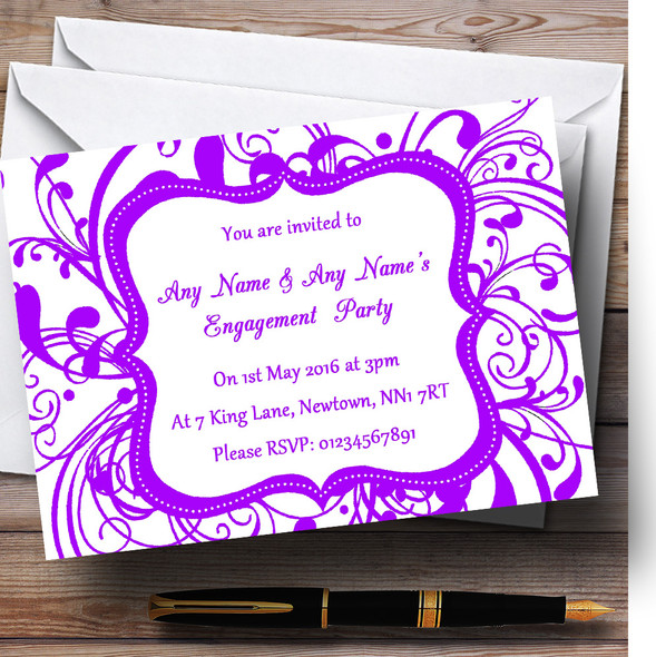 White & Purple Swirl Deco Personalised Engagement Party Invitations