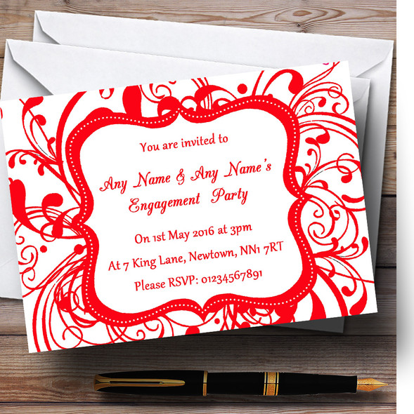 White & Red Swirl Deco Personalised Engagement Party Invitations