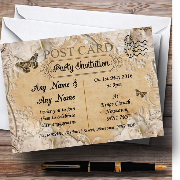 White Rose Vintage Shabby Chic Postcard Personalised Engagement Party Invitations