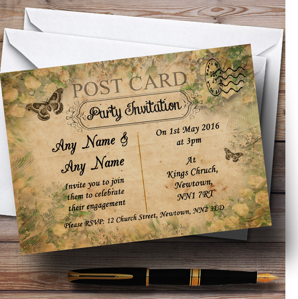 White Roses Vintage Shabby Chic Postcard Personalised Engagement Party Invitations