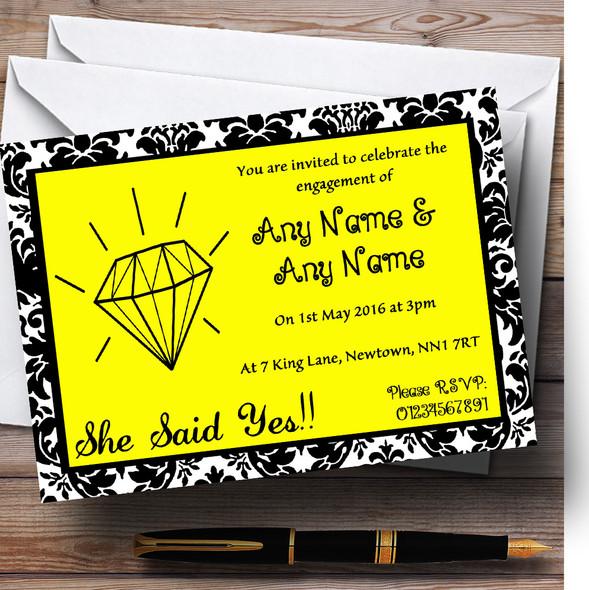 Yellow Diamond Damask Personalised Engagement Party Invitations