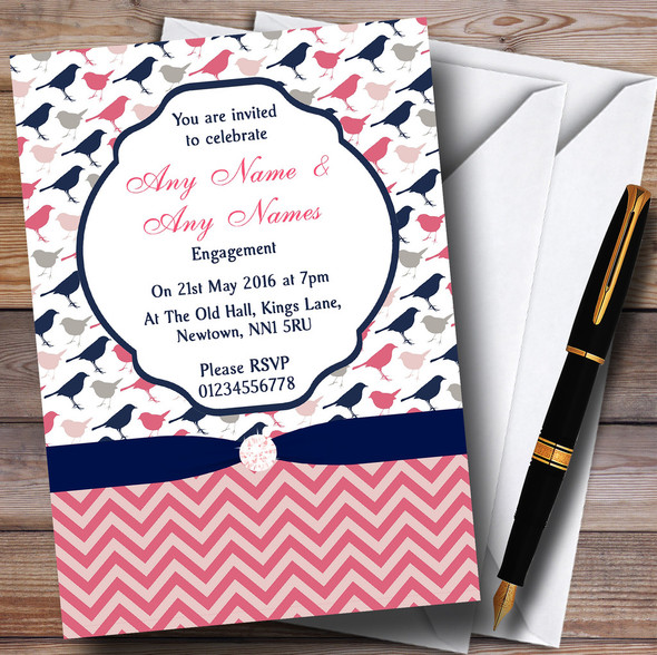Coral Pink & Navy Blue Shabby Chic Birds Personalised Engagement Party Invitations