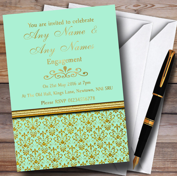 Mint Green & Gold Vintage Damask Personalised Engagement Party Invitations