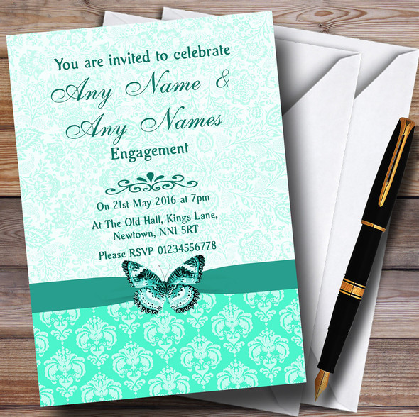 Mint Green Vintage Floral Damask Butterfly Personalised Engagement Party Invitations