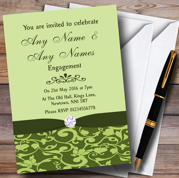 Olive Green Vintage Floral Damask Diamante Personalised Engagement Party Invitations