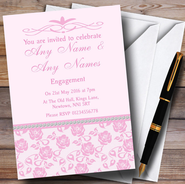 Pretty Baby Rose Pink Floral Diamante Personalised Engagement Party Invitations