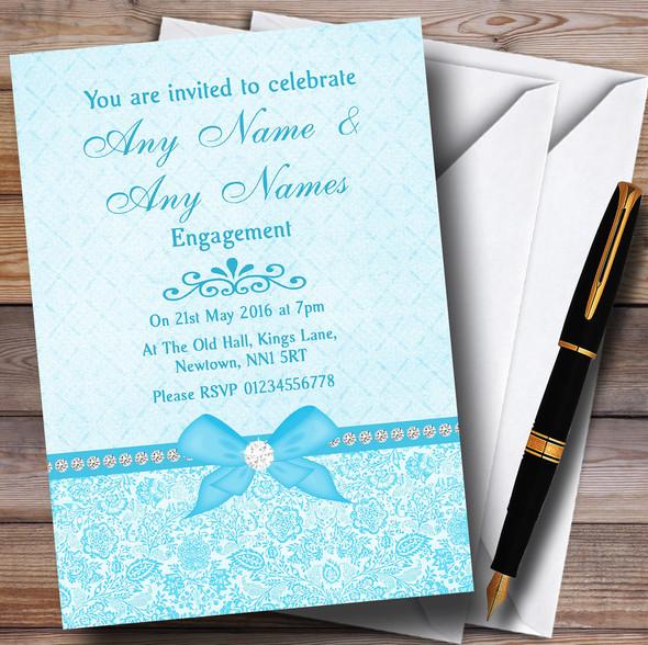 Pretty Floral Vintage Bow & Diamante Aqua Sky Blue Personalised Engagement Party Invitations
