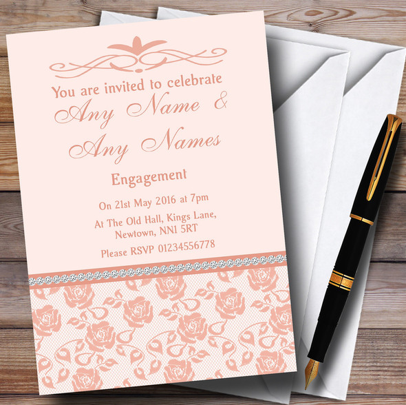 Pretty Pale Coral Floral Diamante Personalised Engagement Party Invitations