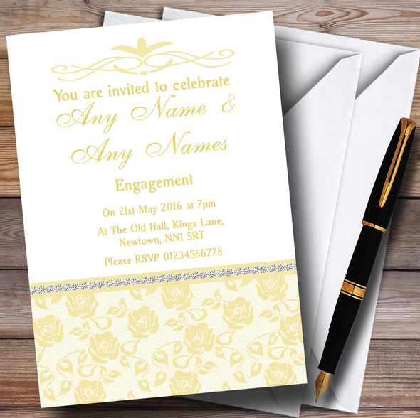 Pretty Pale Yellow Floral Diamante Personalised Engagement Party Invitations