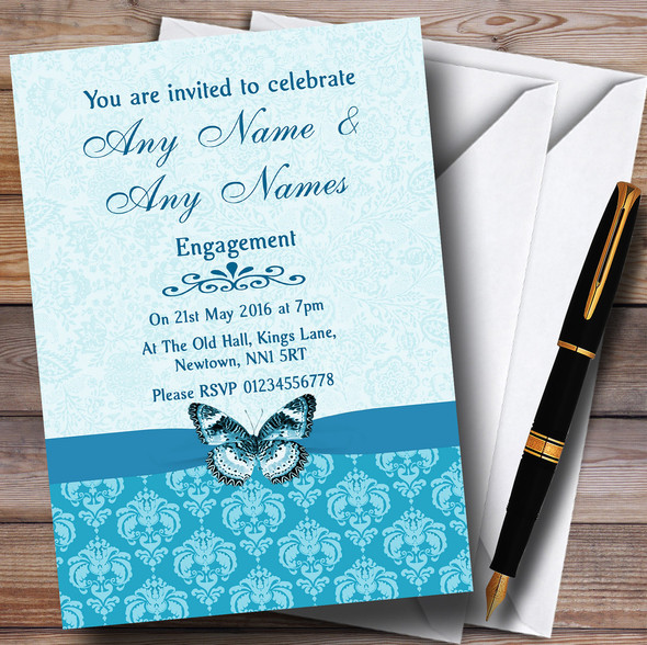 Tiffany Blue Turquoise Vintage Floral Damask Butterfly Personalised Engagement Party Invitations