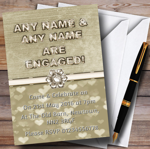Titanium Gold And White Personalised Engagement Party Invitations