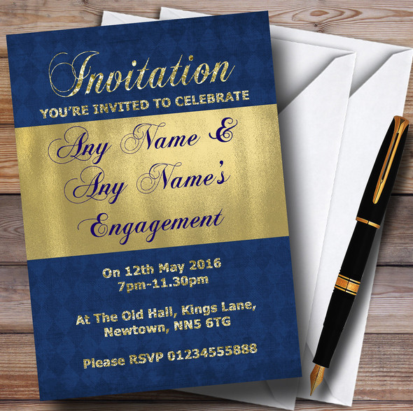 Blue And Glitter Look Gold Engagement Party Personalised Invitations