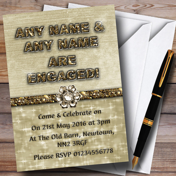 Titanium Gold Sparkly 70Th Personalised Engagement Party Invitations